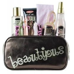 Gloss-Coffret beauté de bain incluant des accessoires de cheveux - Trousse marron dorée - Collection Beautyous - Rose