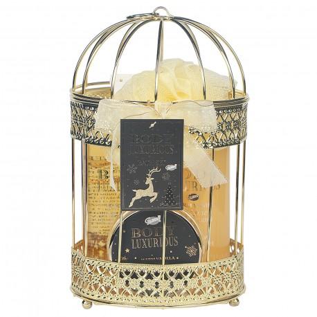 Coffret soin de corps & bain Cage en métal doré -  Vanille et tilleul