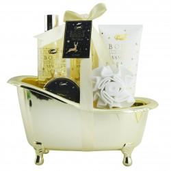 Coffret cadeau beauté gourmand à la vanille en forme de baignoire