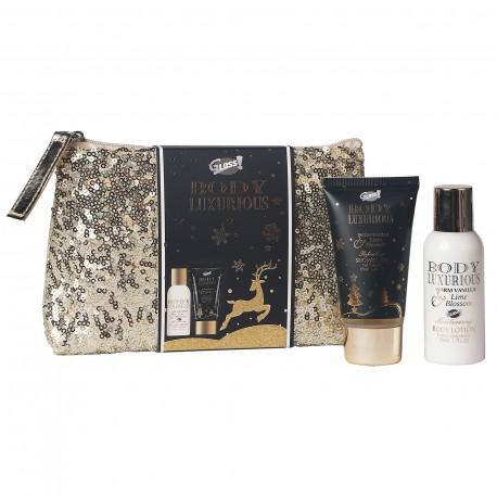 Trousse de bain pailletée - Vanille et tilleul - Idée cadeau beauté