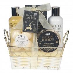 Coffret cadeau beauté et soins du corps à la vanille et au tilleul en forme de panier en métal doré