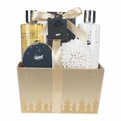 Coffret de bain Vanille et tilleul - Panier doré - Idée cadeau beauté