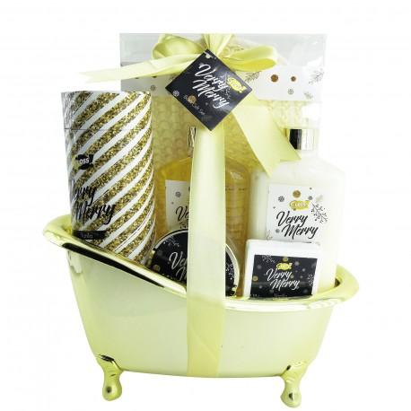 Coffret beauté - Baignoire de bain dorée à la Vanille