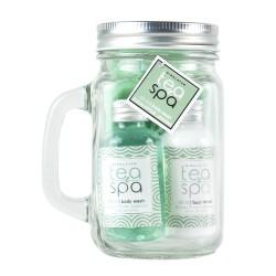 Coffret de bain avec une fleur de douche et son mug en verre- Thé vert