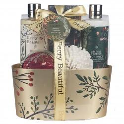 Coffret cadeau de bain avec éponge EVA - Vanille et fleur de tilleul