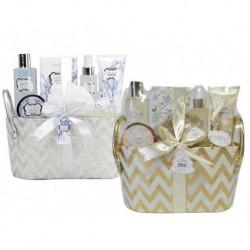 Coffret de bain premium format corbeille parfum fleurs de coton - 6pcs